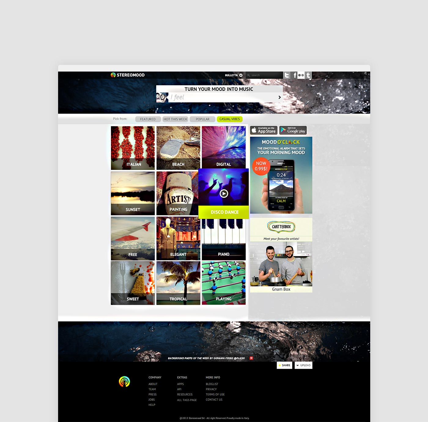 Stereomood homepage in 2013