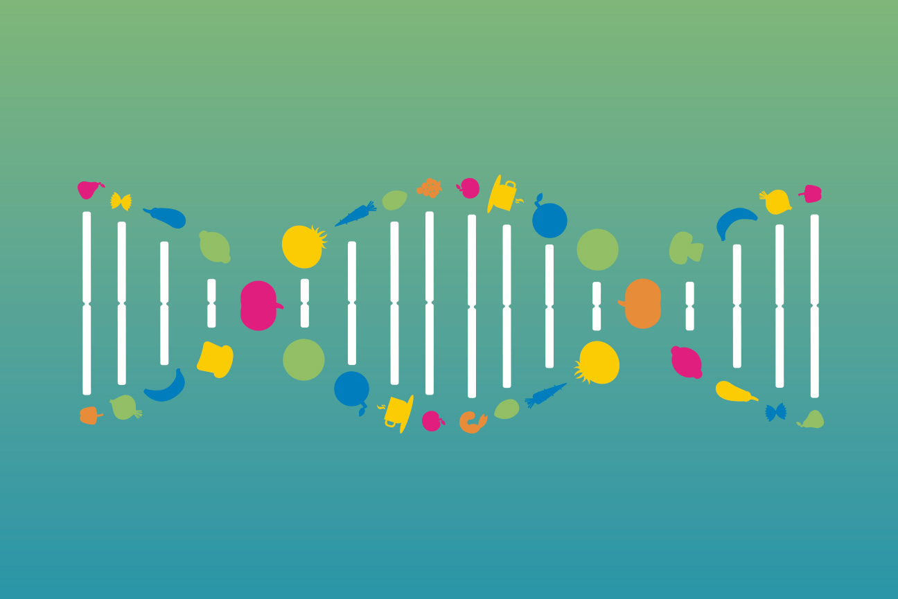 Allelica DNA illustration combined with nutrition elements