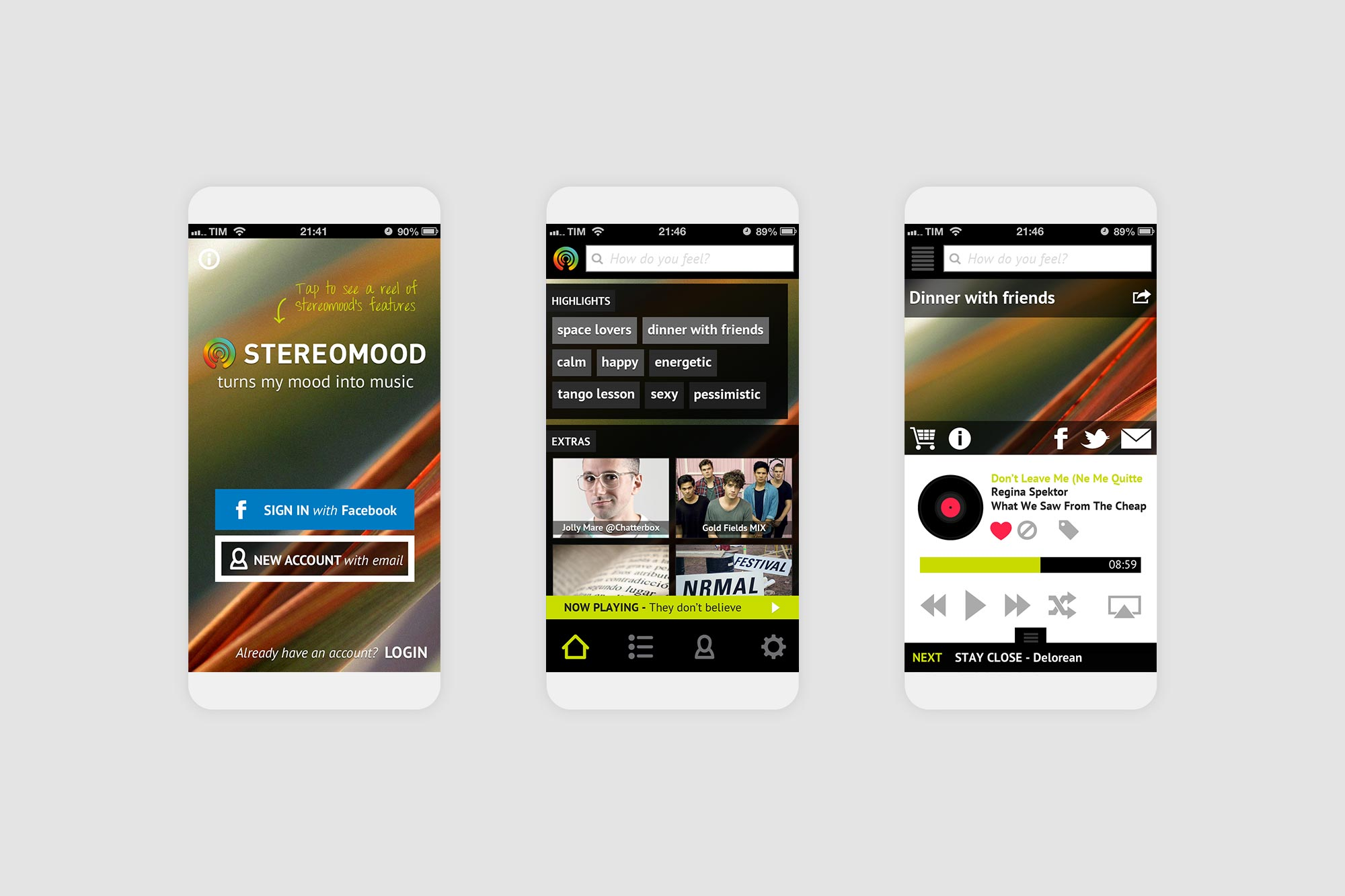 Stereomood mobile up to listen to music by mood on the go