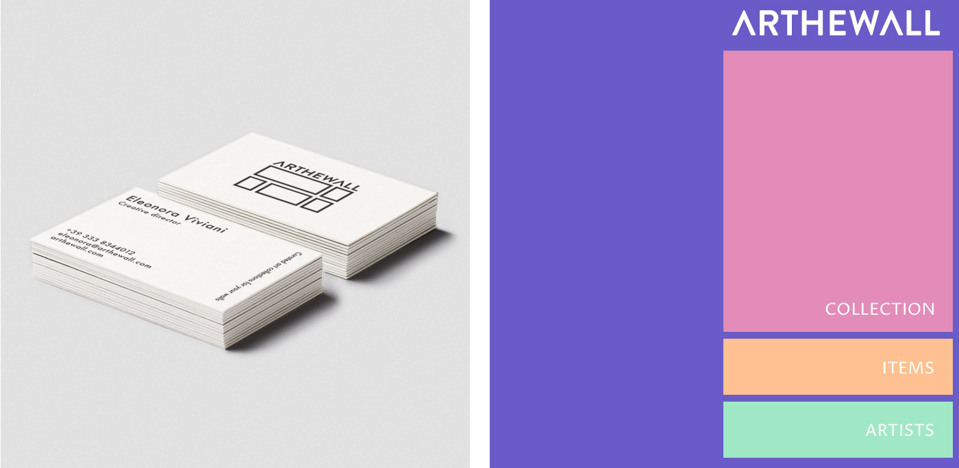 Arthewall business card and corporate colors
