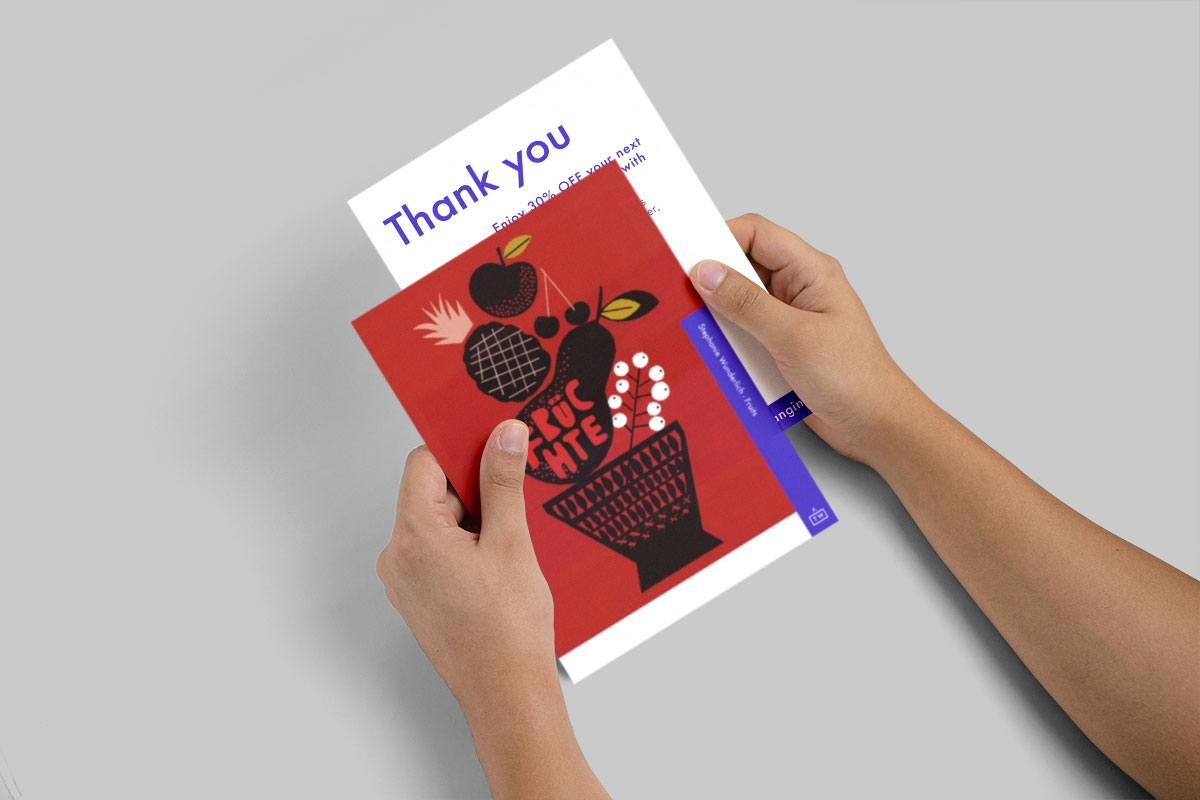 Arthewall thank you card after shopping online