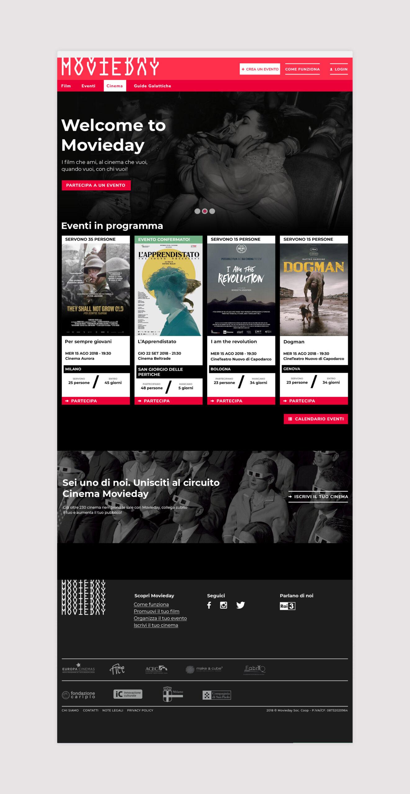 Movieday homepage