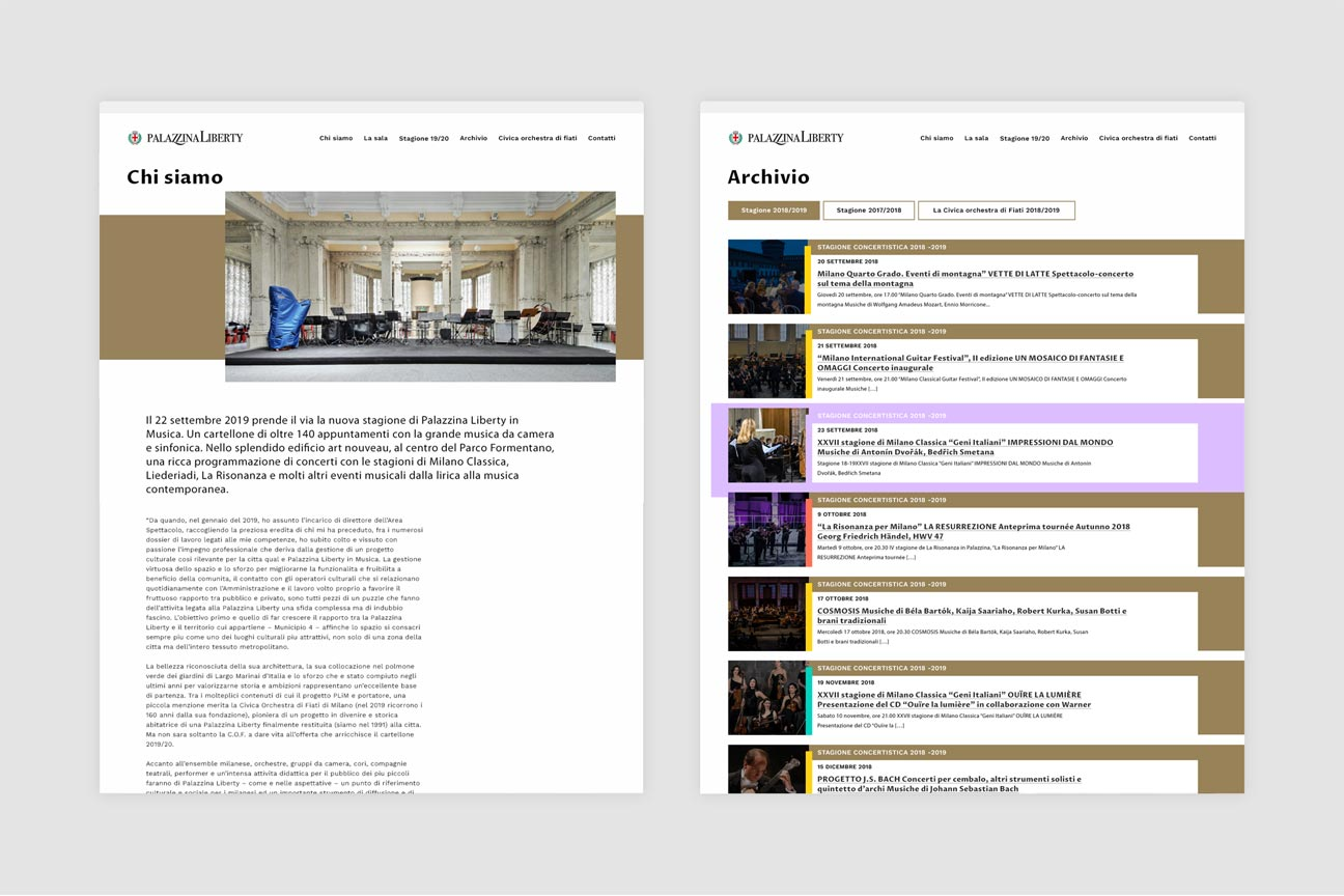 Palazzina Liberty internal pages, about and archive